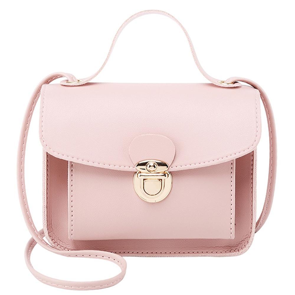 Simple Flap Shoulder PU Leather Bags Women Girls Pure Color Mini Messenger Chest Bag Cross Body Handbags Bolsa Feminina