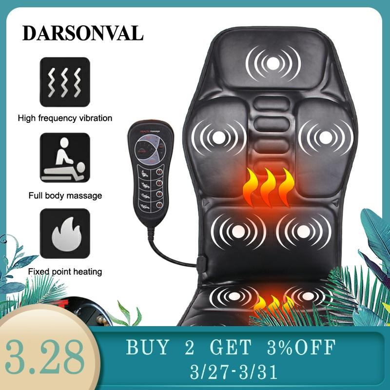 DARSONVAL Electric Portable Heating Vibrating Back Massager Chair Cushion Car Home Office Lumbar Neck Mattress Pain Relax Mat