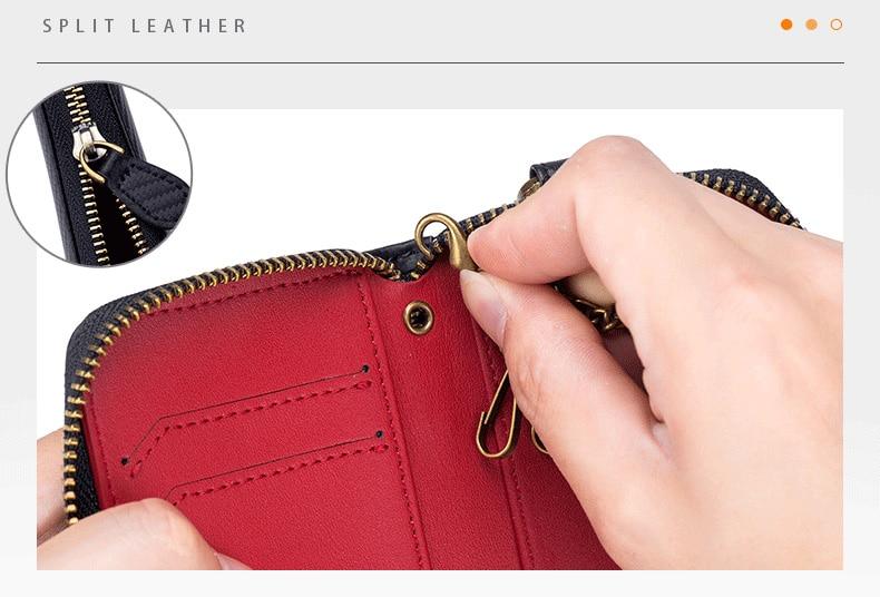 Couro genuíno chave carteira masculina vintage chaveiro