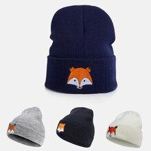New Men Women Autumn Winter Hats Fashion Fox Head Embroidery Wool Warm Trend Crochet Knit Lovely Soft Beanie