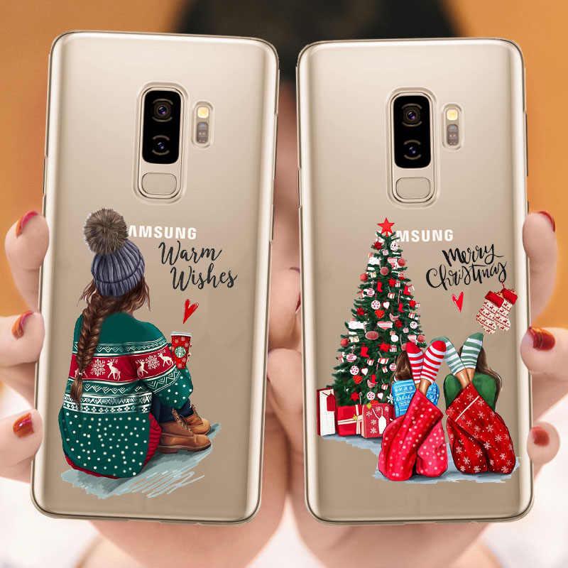 السنة الجديدة عيد الميلاد سانتا كلوز الثلوج الغزلان غطاء من السيليكون كوكه لسامسونج غالاكسي S6 S7 Edeg S8 s9 Plus S10 زائد ملاحظة 9 S10 لايت