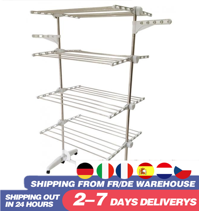 Multifunction 4 Tiers Adjustable Clothes Airer Stainless Laundry Rack Hanging Drying Folding Hanger For Clothes Space Saver HWC