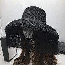 Ретро-шляпы, черные, с кисточками, для сцены, большие карнизы, женская шляпа от солнца, модное шоу, маленькая шляпа от солнца и тайна лица