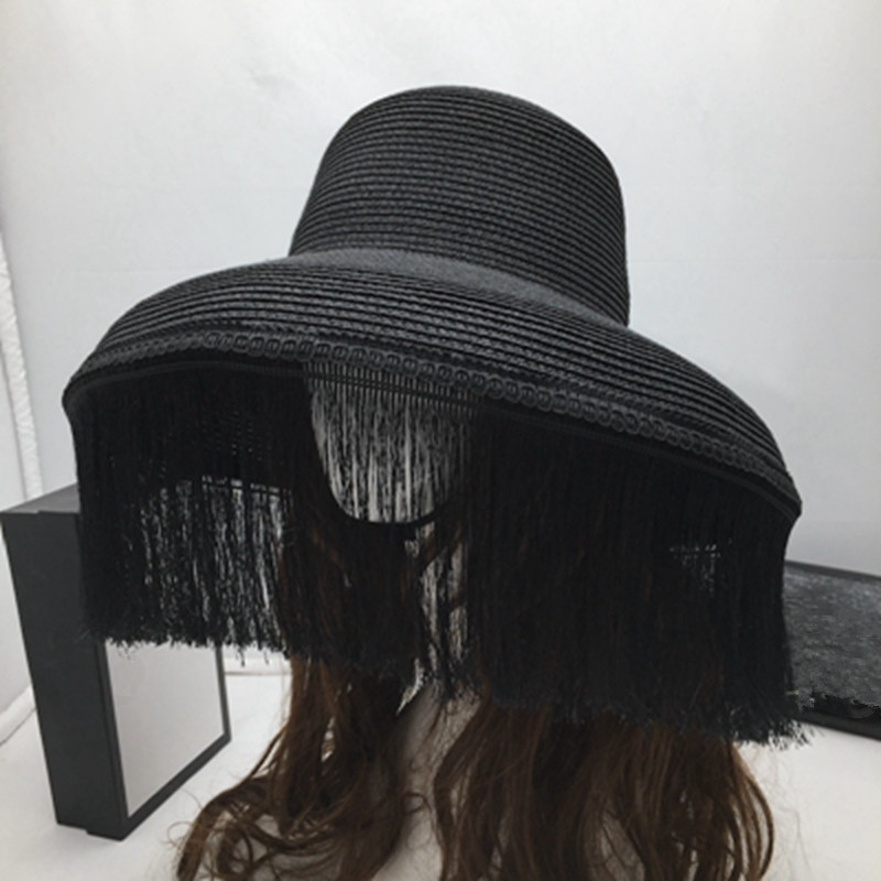 Retro Hats Black Tassel Stage Big Eaves Female Sun Hat Fashion Show Little Sun Hat And Mystery Of The Face