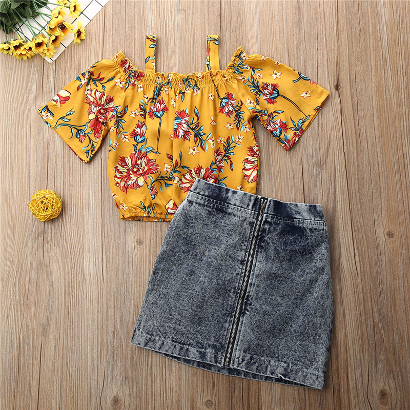 1-6 Years Infant Clothes 2019 Autumn Kids Girl Clothes Sets Off Shoulder Floral Tops Zipper Jeans Shorts Set Baby Girls Outfits 2