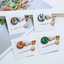 HOCOLE Handmade Gold Pearl Metal Hair Clips For Women Barrette Stick Hairpins Girls Fashion Styling Accessories Jewelry