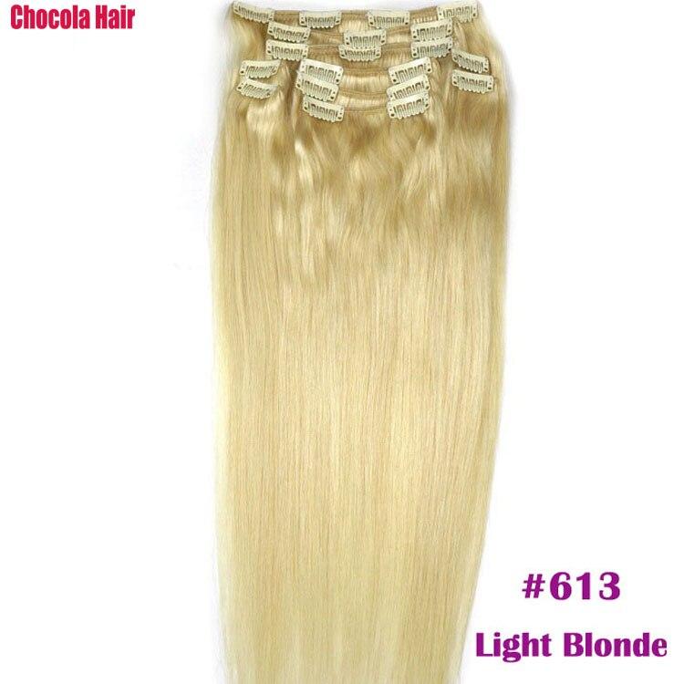 Chocola, бразильские волосы remy на всю голову, 10 шт. в наборе, 280 г, 16-28 дюймов, натуральные прямые человеческие волосы для наращивания на заколках - Цвет: #613