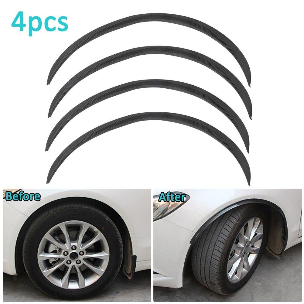 4pcs Black Carbon Fiber Car Fender Flares Eyebrow Wheel Protector Lip Sticker