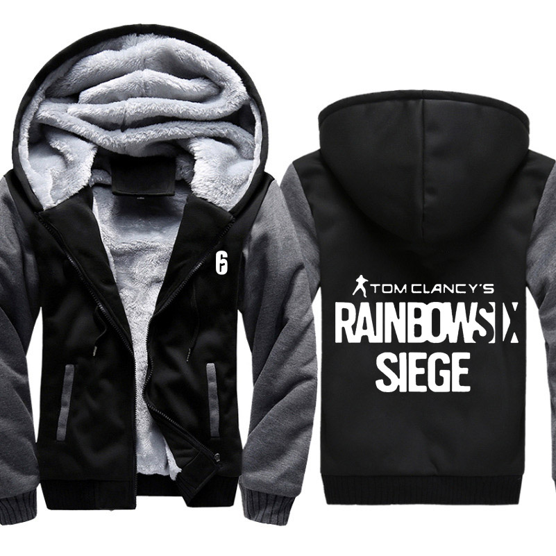 High-quality Winter Rainbow Six Siege Hoodie Men's Winter Casual Super Warm Thicken Fleece Zip Up Sweatshirt Coat Plus Size 5XL