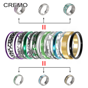 Image 5 - Cremo Titanium Ringen Set Vrouwen Stapelbaar Verwisselbare Wedding Band Arctic Symfonie Meditatie Base Ring Anillos Mujer
