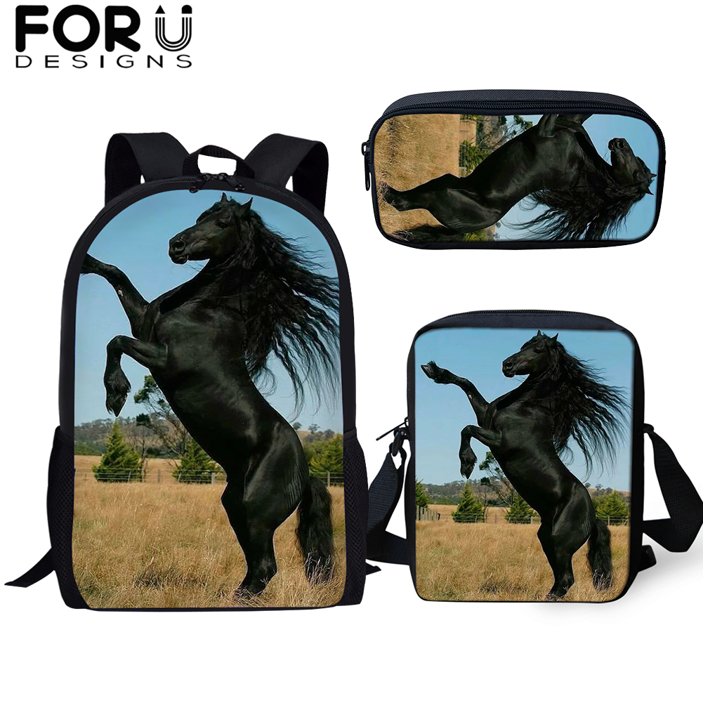 FORUDESIGNS Horse-Printing Girls Backpacks School-Bag Teenager Handsome Boys Child Students