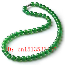 Charm-Accessories Jewelry Beads Necklace Jade Hand-Carved Natural-Green Fashion Women