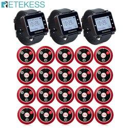 Retekess 3 receptores de reloj + 20 T117 botones de llamada inalámbrica para llamar al Restaurante Camarero llamada buscapersonas Equipo de Servicio al Cliente Iglesia
