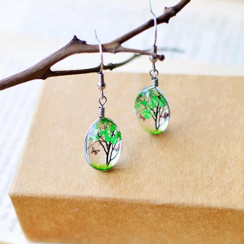 Fashion 5 Warna Kreatif Tanaman Kering Kering Bunga Nyata Anting-Anting Wanita Perhiasan Fashion Drop Anting-Anting Bola Kaca Ditekan Bunga Hadiah