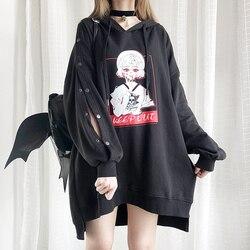 Готический череп Графический для женщин Лолита девочек полые длинные толстовки Японский Harajuku панк аниме Kawaii Мода негабаритных толстовка