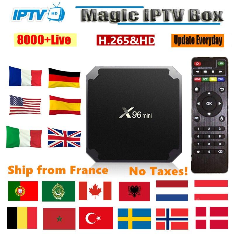Iptv frankreich x96 mini smart android tv box 9000 live 1 jahr francais iptv m3u abonnement Spanien französisch Portugal iptv set top box
