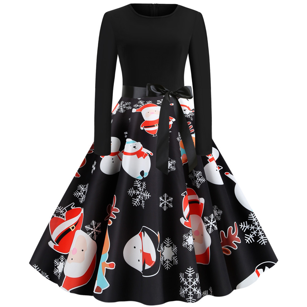 Black Print Christmas Dress Women Elegant Vintage Autumn Winter Long Sleeve Plus Size Casual Party Dresses Vestidos Robe Femme 5