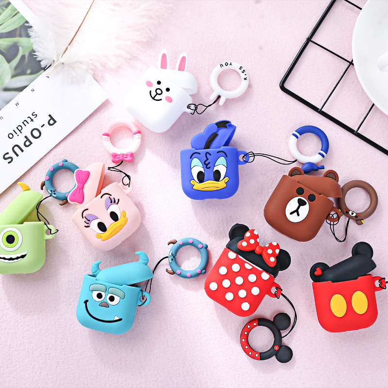 Earphone Case For Airpods 2 1 Case Silicone Cartoon Cute Headphone Cover For Air Pods Case For Apple Earpods Earbuds Accessories