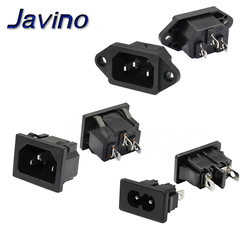 Inlet Plug Connector AC Power Socket 250V Red Lamp Rocker Switch 10A Fuse Female Rewirable Power Connector Plug