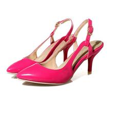 2018 new pointed stiletto heels buckle with patent leather hollow high heel sandals
