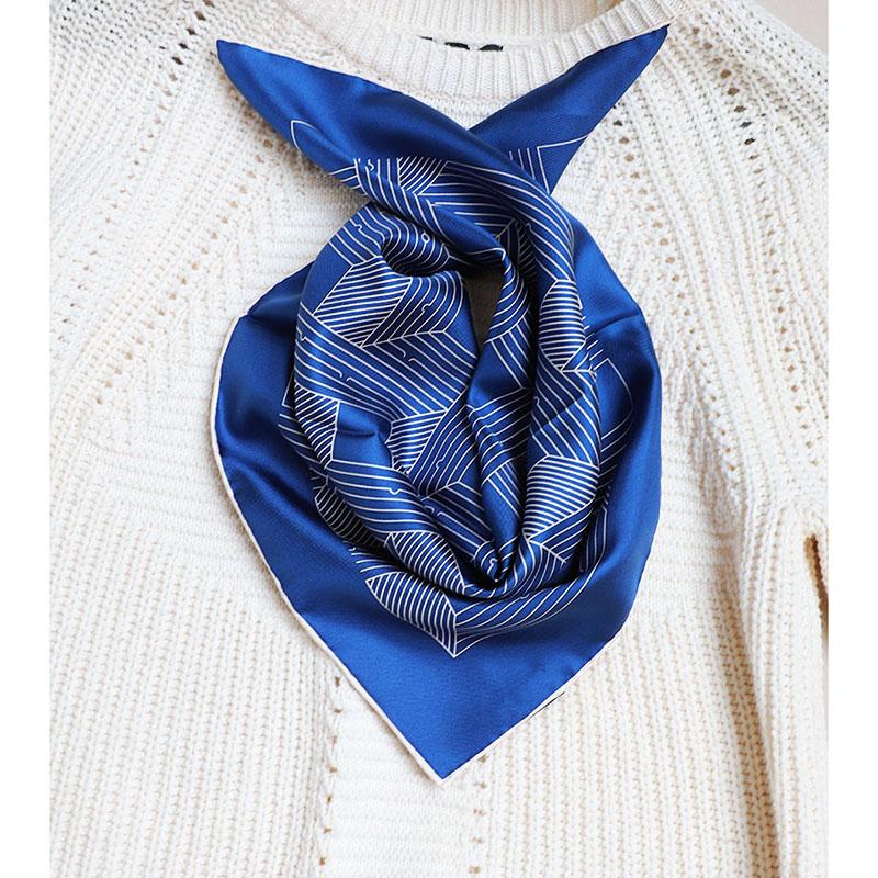 Geometric Print 100% Silk Bandana Neckerchief Women Small Square Fashion Scarves Wraps 21