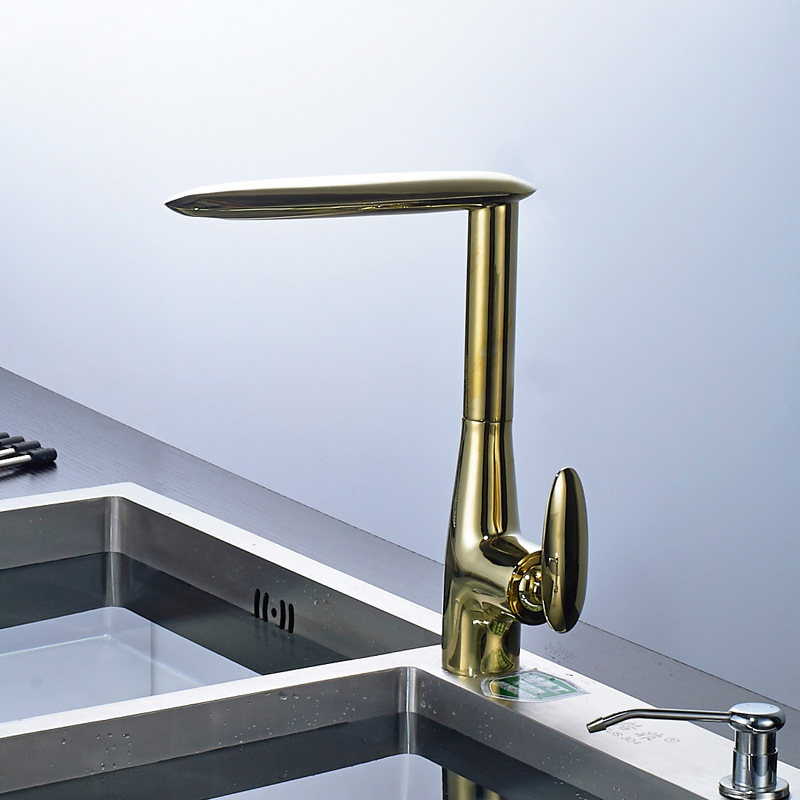 Kitchen Faucets Black/Gold Brass Kitchen Sink Faucet Swivel Kitchen Sink Mixer Taps Crane Faucet Hot and Cold Cocina Torneira