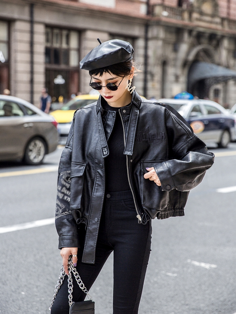 Leather Jacket Women's Spring And Autumn 2020 New Loose Bat-Style Locomotive PU Leather Biker Casual Jacket Female Tops