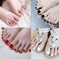 5 шт., искусственные цветные накладные ногти на носках, короткие, Impress faux ongles pieds, французские накладные ногти для ног, квадратный пресс на ног...