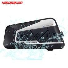 HEROBIKER 1200M Bluetooth Intercom Motorcycle Helmet Interphone Headset Waterproof Wireless Bluetooth Moto Headset Interphone недорого