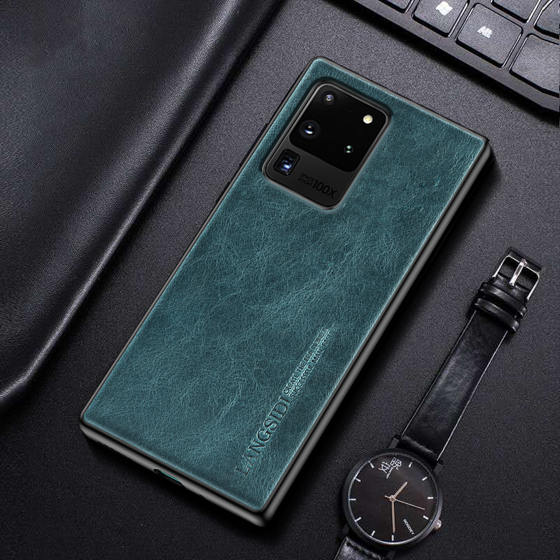 LANGSIDI Brand case For samsung Galaxy s20 ultra s20+ note 10 plus s10 s9 a50 a51 a70 a71 a30 Genuine leather back cover fundas