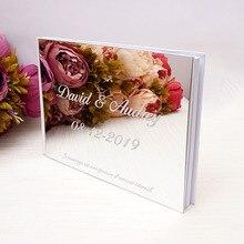 Персонализированная 25x18 см Индивидуальная подписная книга для гостей, акриловое зеркало, белые пустые вечерние фотоальбом