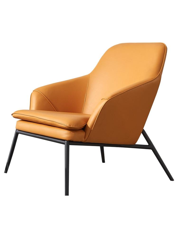 Single Leather Sofa Chair Nordic Designer Modern Minimalist Creative Sofa Chair Balcony Wrought Iron Lounge Chair