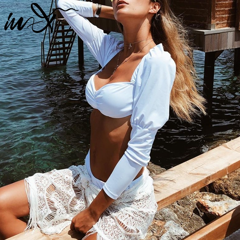 In-X Sexy Long Puff Sleeve Bikini Set Bandeau Swimsuit Female White Bikinis 2019 Mujer Push Up Bathing Suit Swimming Suit Women