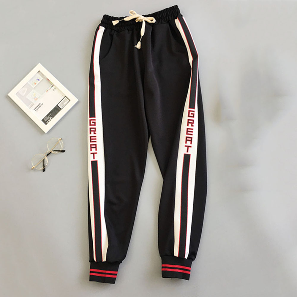 2019 New Autumn Tyle Red Trousers Women  Loose Letter Print Pockets Thin Streetwear Cool Hip Hop Harajuku Pants Girl Fashion