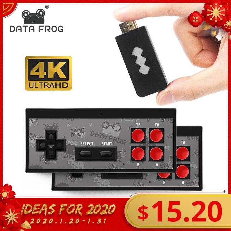 Données grenouille 4K HDMI Console de jeu vidéo construit en 568 jeux classiques Mini rétro Console sans fil contrôleur HDMI sortie double joueurs