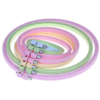 1 ud. De aro de Aro para bordado de costura DIY, bordado de punto de cruz, marco de aro, aro redondo, artesanía de plástico, Color madera