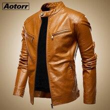 Sonbahar ceket erkekler yeni ince Retro kışlık ceketler erkek PU deri standı yaka spor takım elbise erkek bombacı ceket Chaqueta Hombre