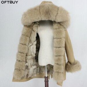 Image 2 - OFTBUY 2020 su geçirmez Parka kış ceket kadınlar gerçek kürk ceket tilki kürk yaka Hood tilki kürk astar sıcak Streetwear ayrılabilir yeni