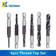 Tap-Drill-Set Screw Thread Metric Taps Hex M3-M10 6pcs Plug-Tap