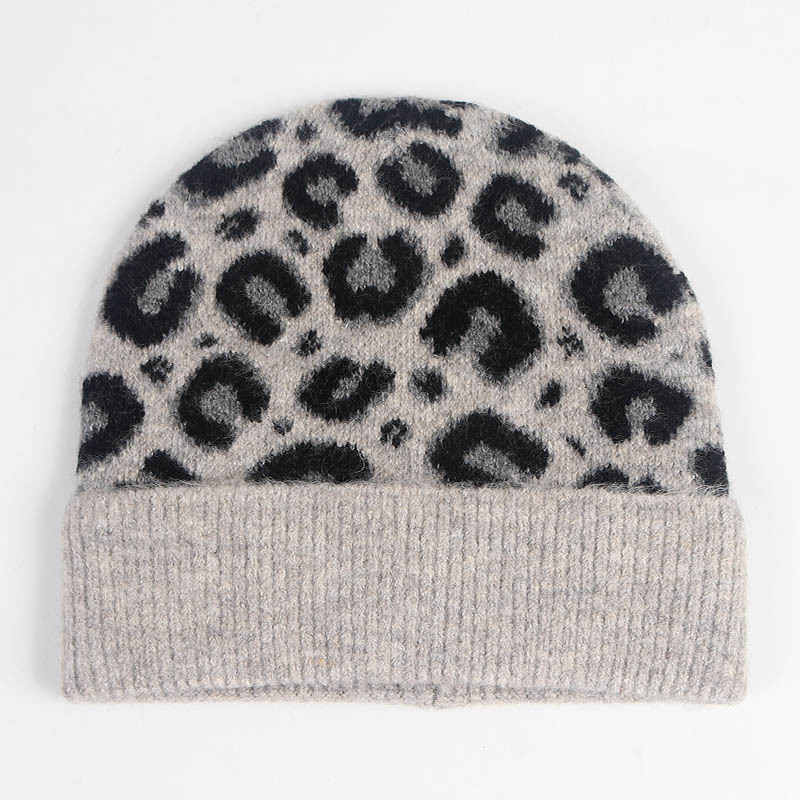 Women Hat Winter Beanie Knit Brim Warm Leopard Skiing Outdoor Accessory For Young Lady