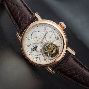 Image 2 - יוקרה עסקי Tourbillon שעונים גברים לוח שנה ספיר חיוג Mens ST8007 Tourbillon מכאני שעוני יד ירח שלב