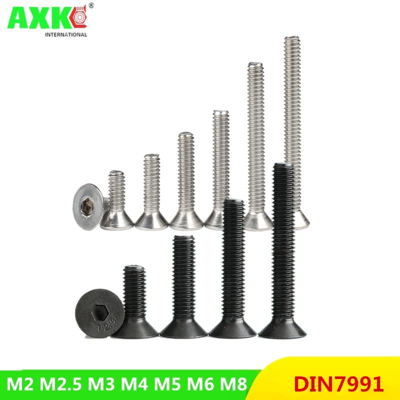 50 /10 шт. M2 M2.5 M3 M4 M5 M6 M8 Din7991, нержавеющая сталь 304 или черный класса 10,9, шестигранный винт с плоской головкой, потайной винт