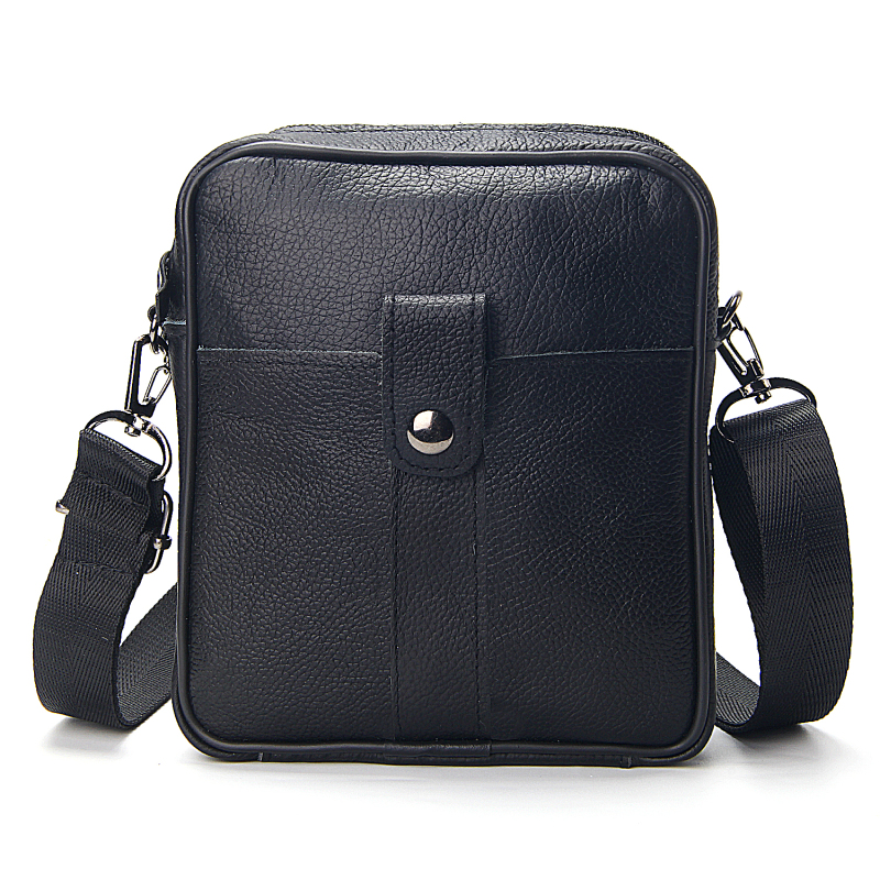 Business Men's Genuine Leather Messenger Bag Large Capacity Real Leather Shoulder Bags Casual Crossbody Bags For Male Soft Black