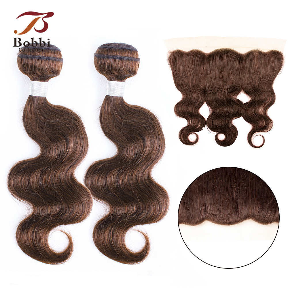 BOBBI COLLECTION Color 4 Chocolate Brown 2/3 Bundles With Ear To Ear 4*13 Frontal Indian Body Wave Non Remy Human Hair Weave