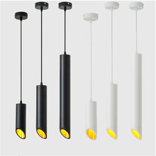 LED Dimmable Cylinder  Pendant Light Long Tube Lamp 9W 12W Kitchen Dining Room Shop Bar Decoration Cord Background Lighting