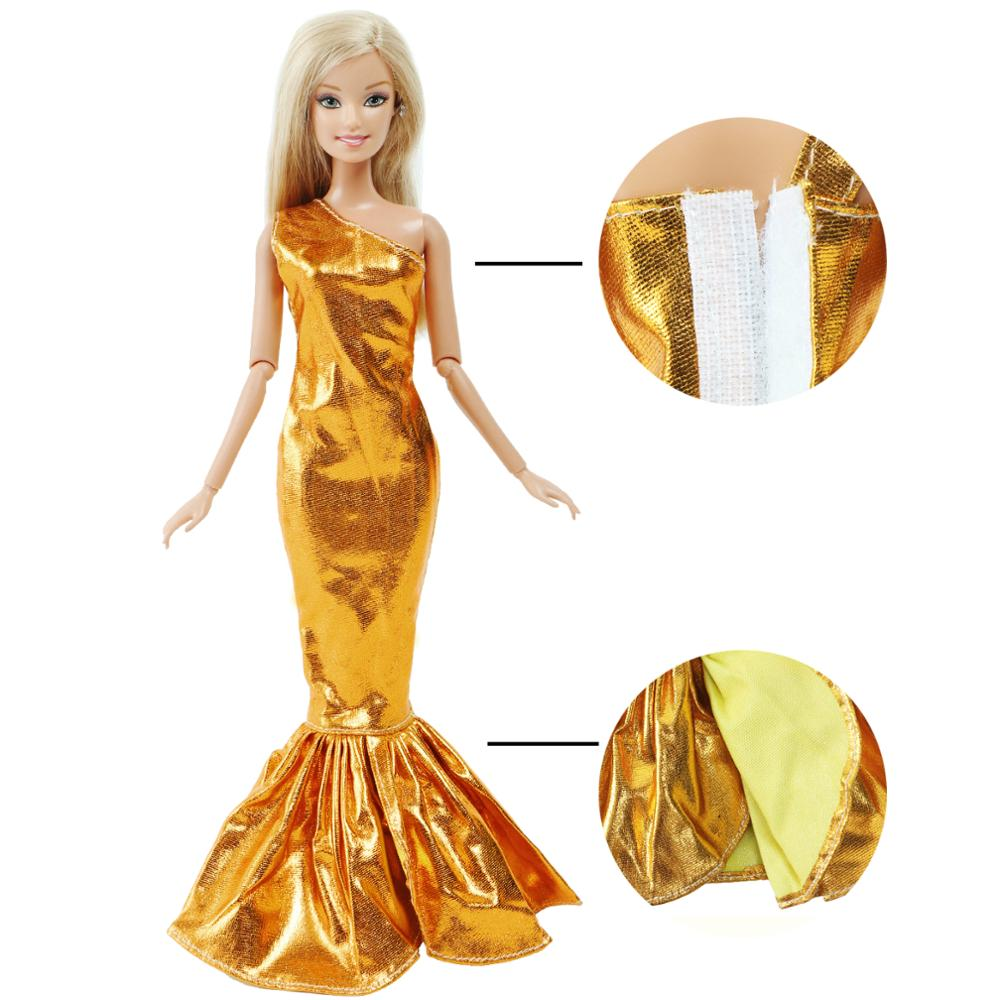 Elegant Doll Dress For Barbie Doll Golden One-Shoulder Fish Tail Long Gown Wedding Party Wear Skirt Doll Clothes Accessories