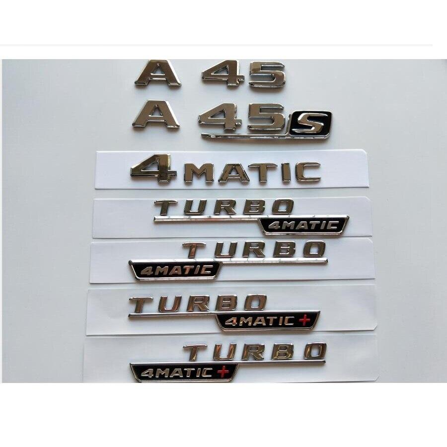 Chrome Letters A45 Trunk Lid Rear Emblem Badge for Mercedes Benz A45