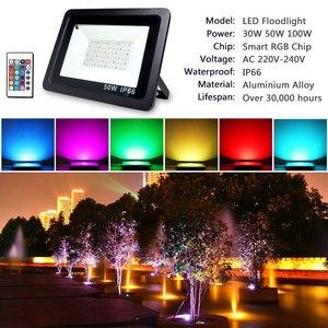 Image 2 - RGB LED フラッドライト防水 100 ワット 50 ワット 30 ワット 220V 230V カラフルなリモコン屋外壁ランプ庭プロジェクター