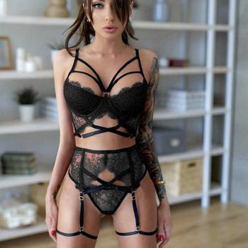 S-3XL Plus Size Intimates Women Sexy Lingerie Lace Bra Sets Porno Erotic Underwear Garter G strings Femme Bra and Panty Set image