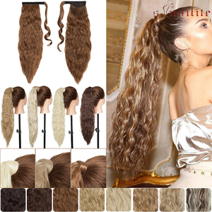 SNOILITE Water Wave Clip In Ponytail Hair Extension Long Corn Wave Wrap Around Pony Tail Hairpiece For Women(China)